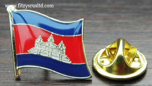 Cambodia Country Flag Lapel Hat Cap Tie Pin Badge Preh Rachanachk Kmpcha